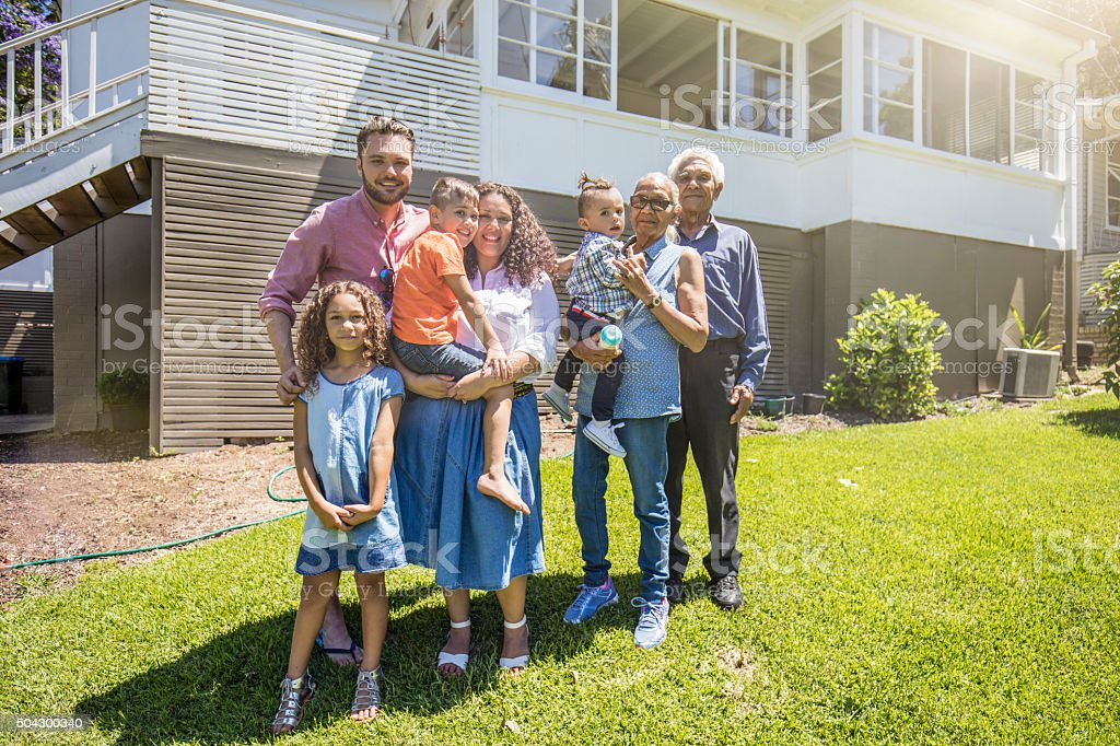 Aboriginal family portrait at home stock photo
