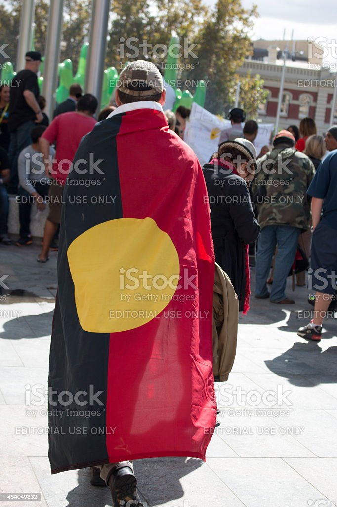 aboriginal flag shoulders stock photo