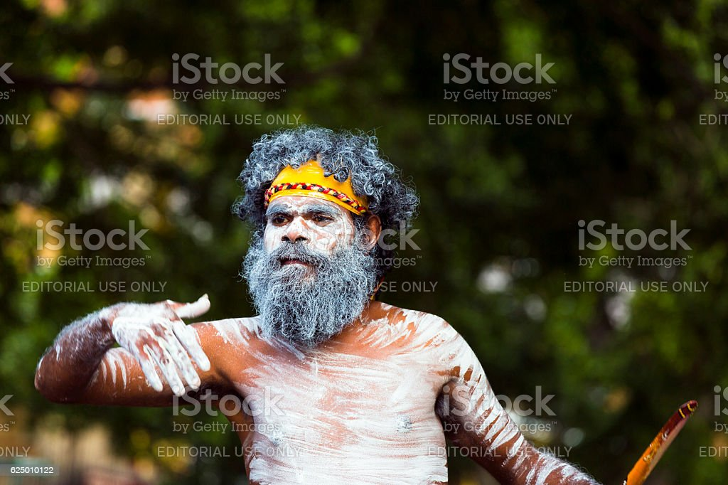 Aboriginal male dancing, street performer, Sydney Australia stock photo