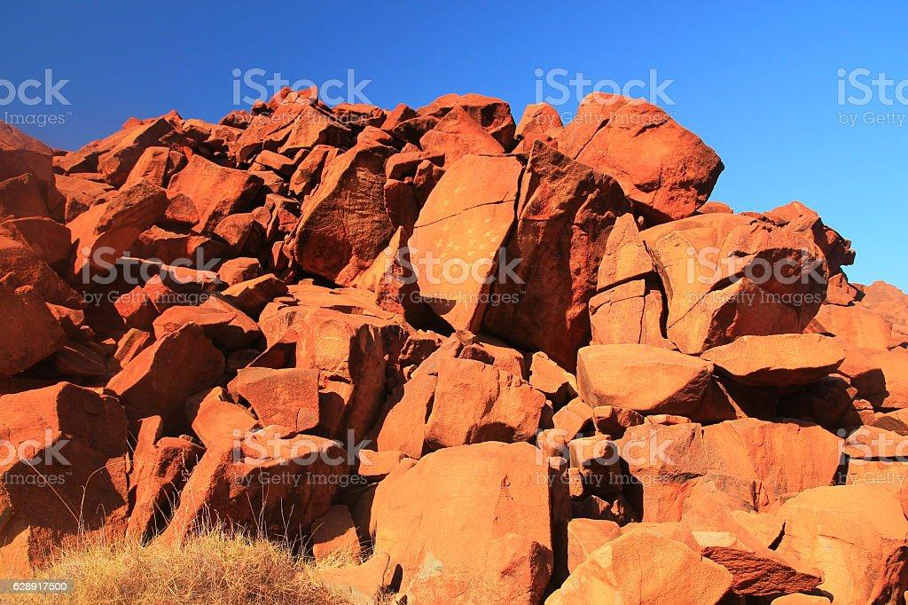 Aboriginal rock carving, Australia stock photo