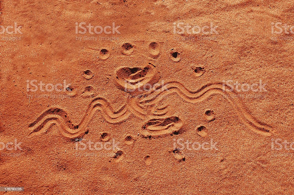 Aboriginal sand drawing in central Australia stock photo
