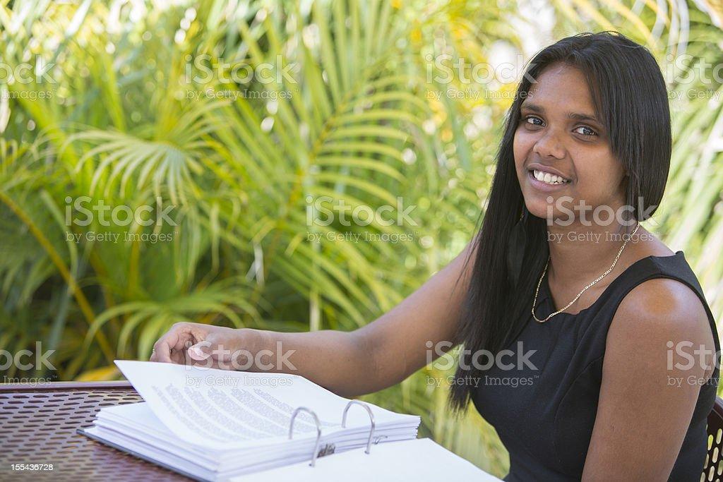 Aboriginal Student Reading royalty-free stock photo
