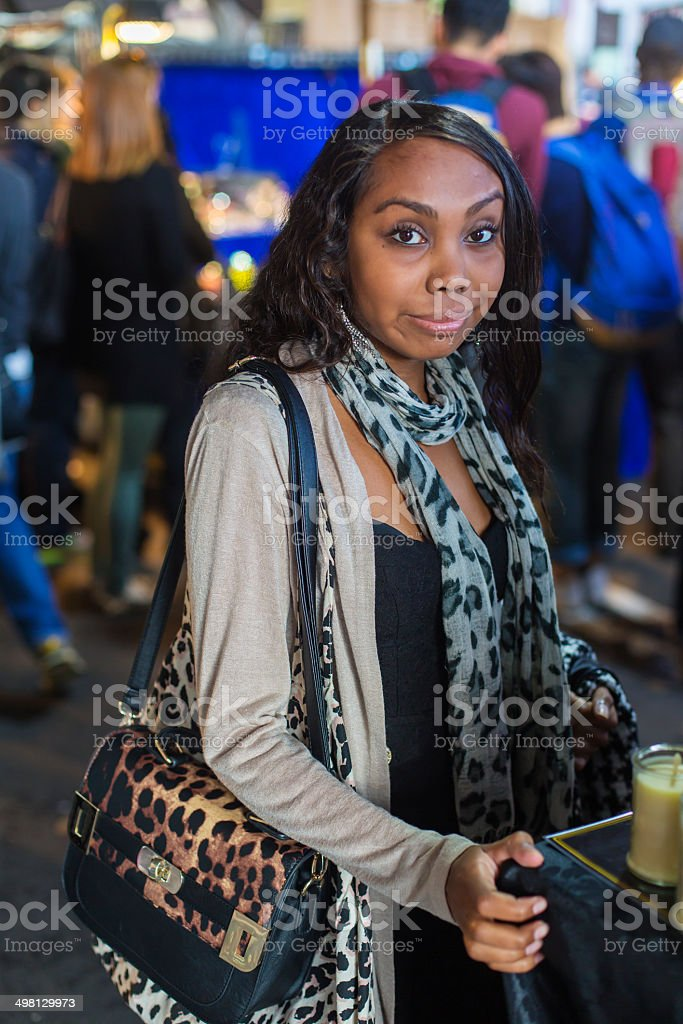 Aboriginal Woman Market Shopping royalty-free stock photo