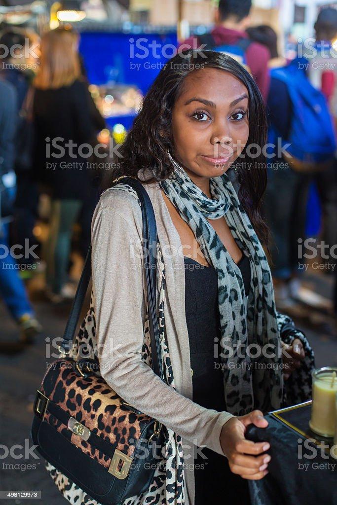 Aboriginal Woman Market Shopping stock photo