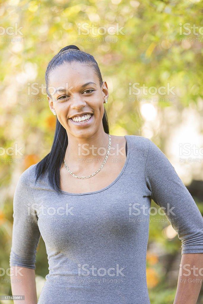 Aboriginal Woman Outside royalty-free stock photo