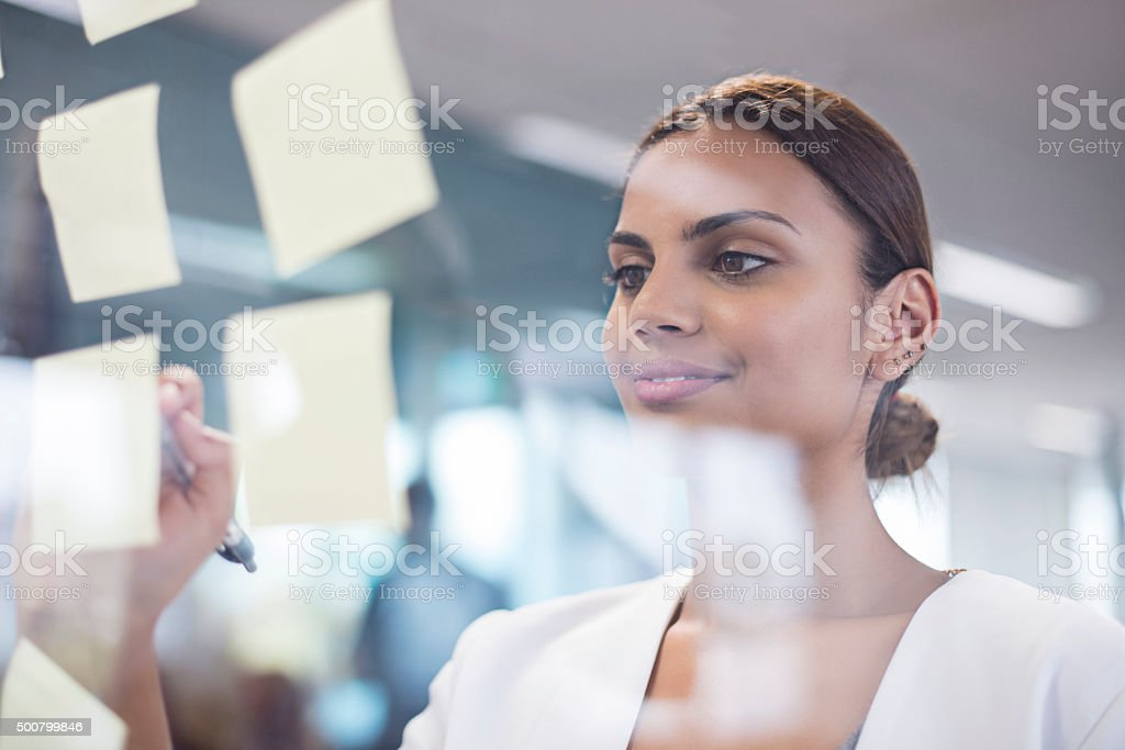 Aboriginal woman searching ideas stock photo