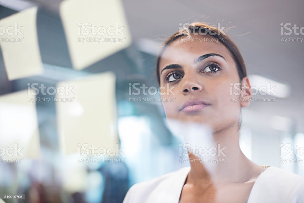 Aboriginal woman thinking about new ideas stock photo