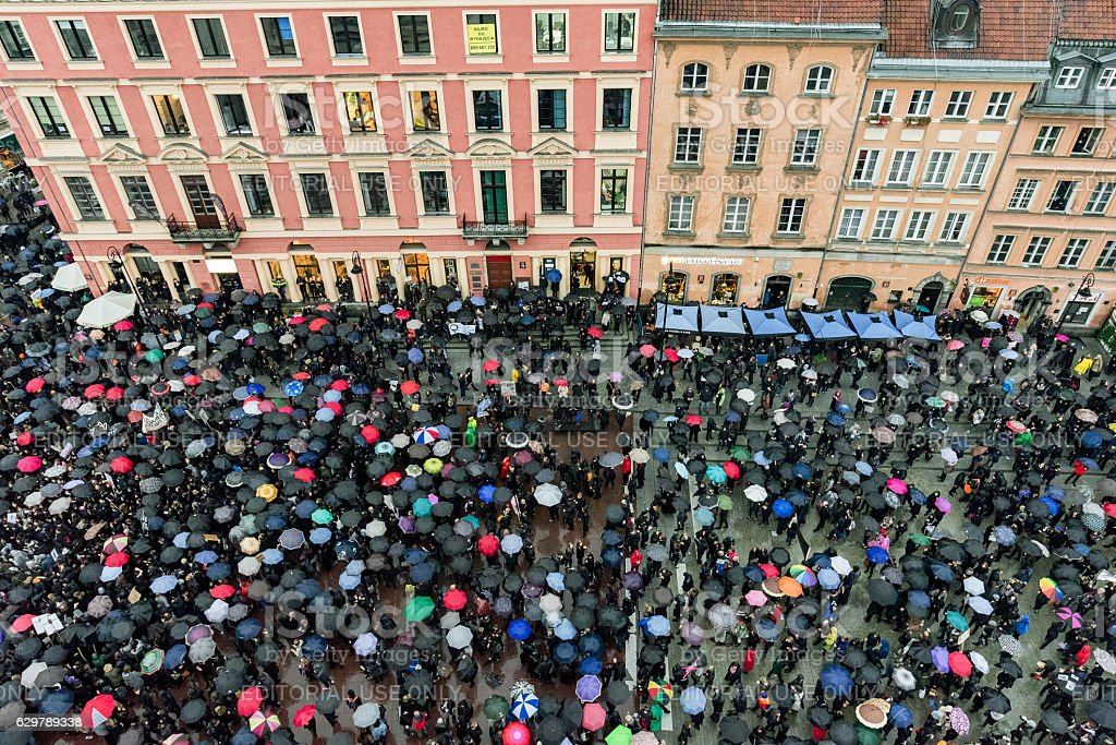 Abortion protest in old town Warsaw stock photo