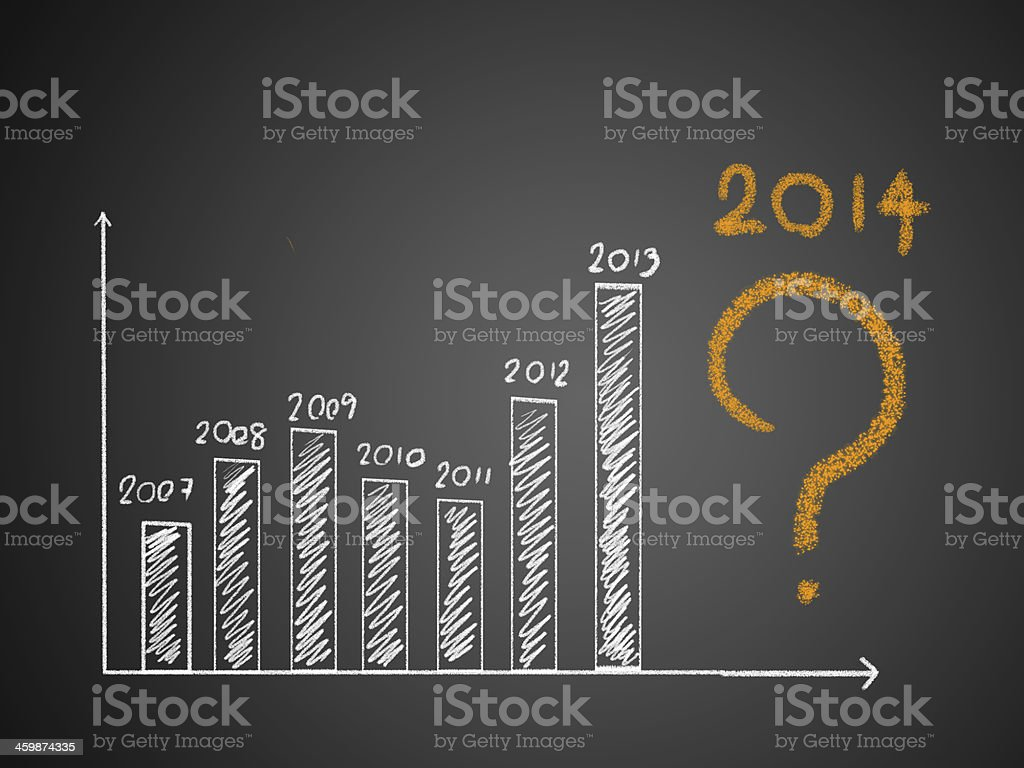 About 2014 on graph royalty-free stock photo