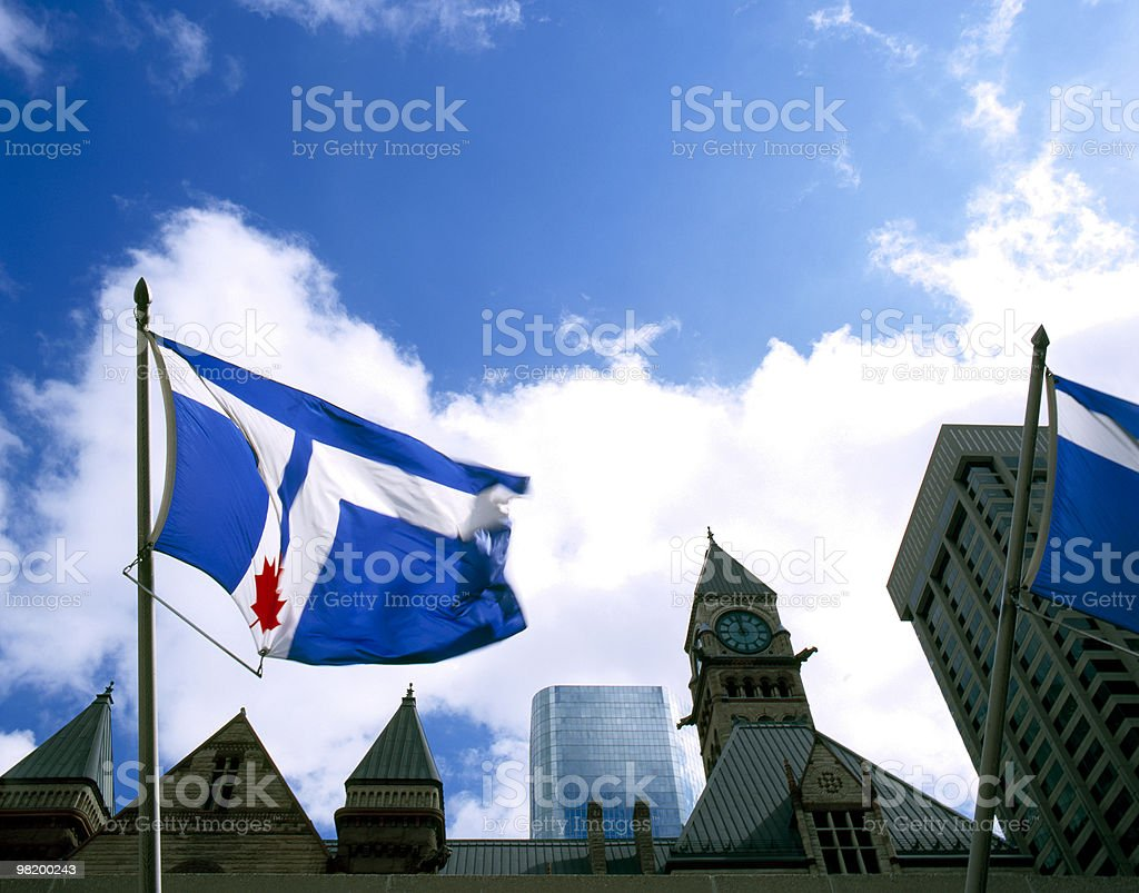 About Canada / Toronto Flag / Nathan Phillips Square / City Hall / Ontario royalty-free stock photo
