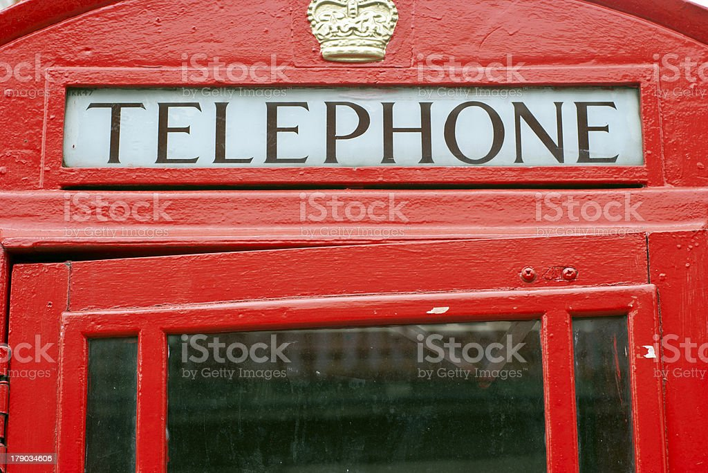 About London - Bright Red Telephone Box Booth, England, UK stock photo