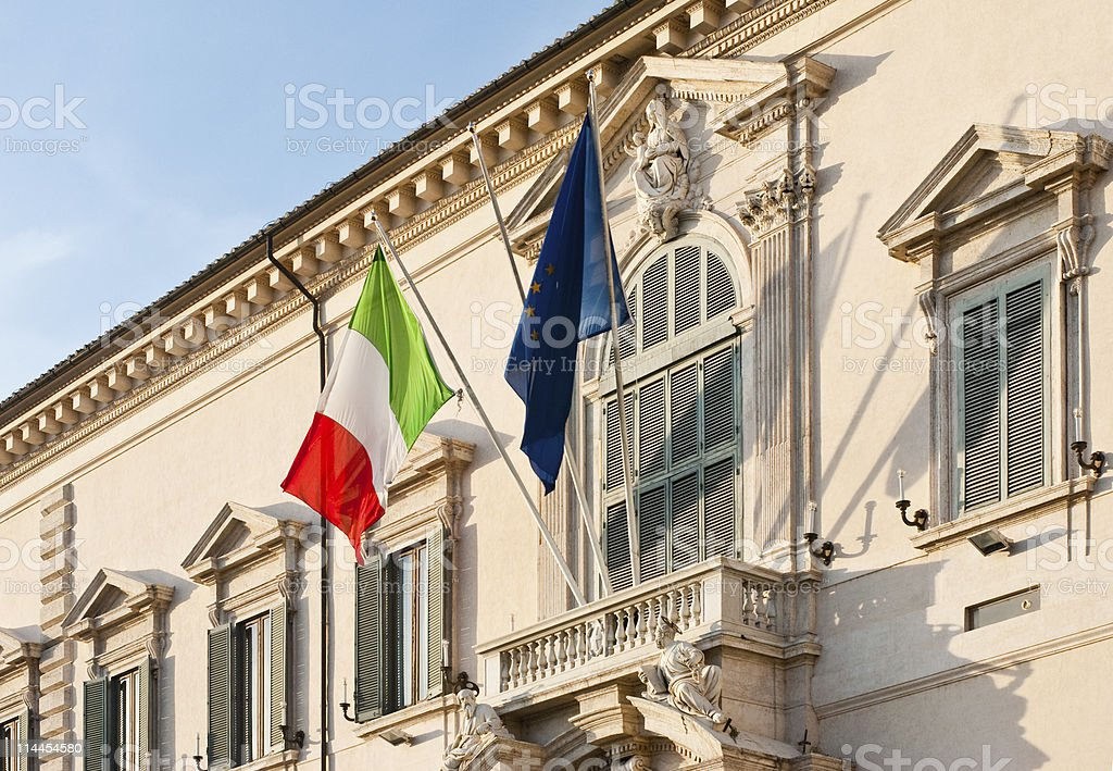 About Rome / Architecture / Italian Flag / Italy / Presidential Residence / Quirinale / Tricolore royalty-free stock photo