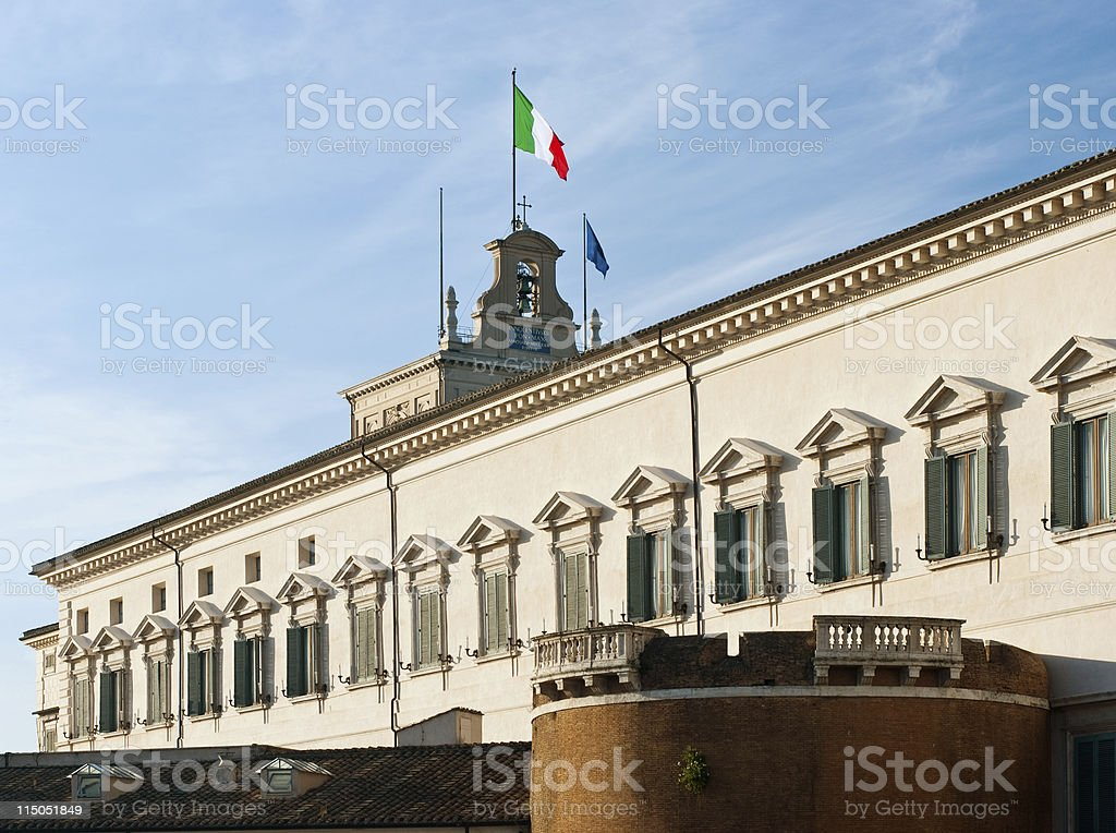 About Rome / Architecture / Italian Flag / Italy / Presidential Residence / Quirinale / Republic stock photo