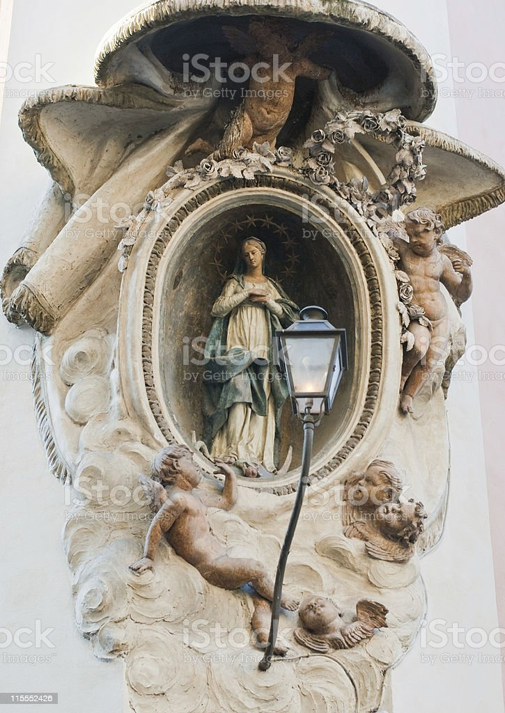 About Rome: Baroque Madonna, Madonnella Romana, Street, Italy / Roman Beauty royalty-free stock photo