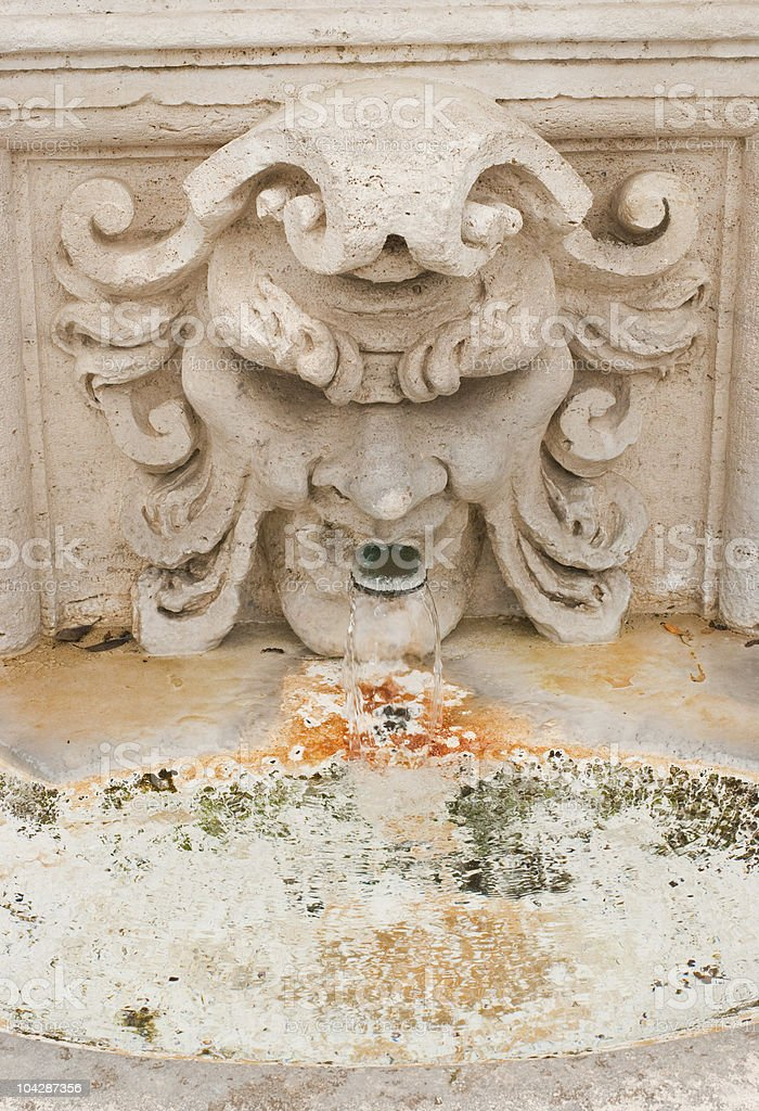 About Rome / Bas-relief Fountain, Villa Borghese Gardens, Italy / Roman Beauty royalty-free stock photo