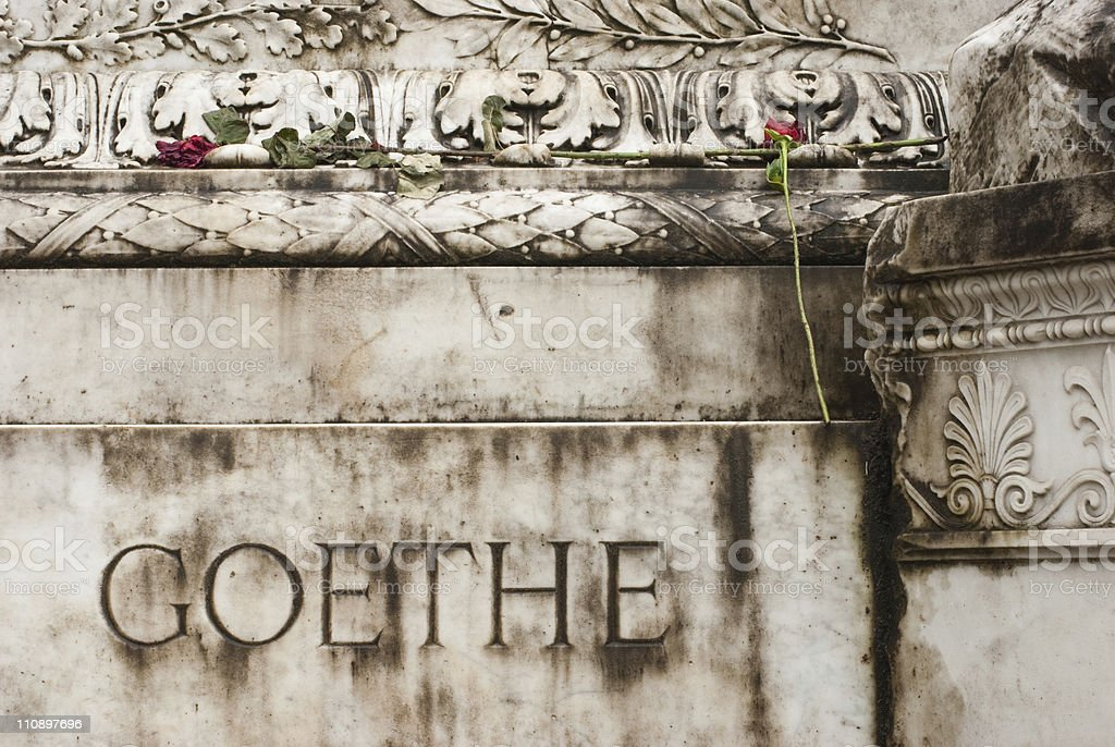 About Rome - Beautiful Goethe Monument, Villa Borghese Gardens, Italy stock photo