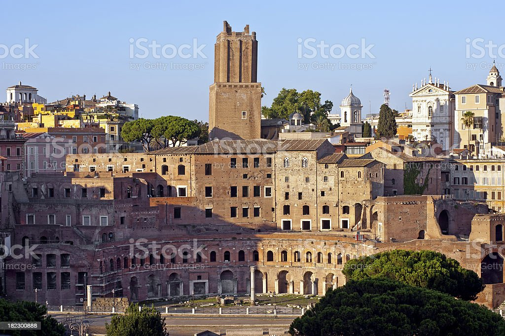 About Rome: Beautiful Roman Forum, Trajan's Market, Militian Tower, Italy royalty-free stock photo