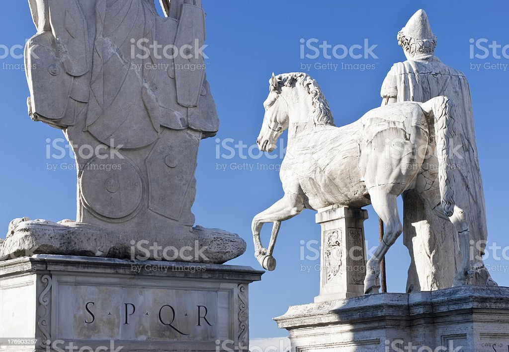 About Rome: Capitoline Hill, S.P.Q.R. Municipality Emblem, Italy royalty-free stock photo