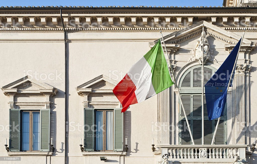 About Rome: Presidential Residence Quirinale with Italian Republic Flag, Italy royalty-free stock photo