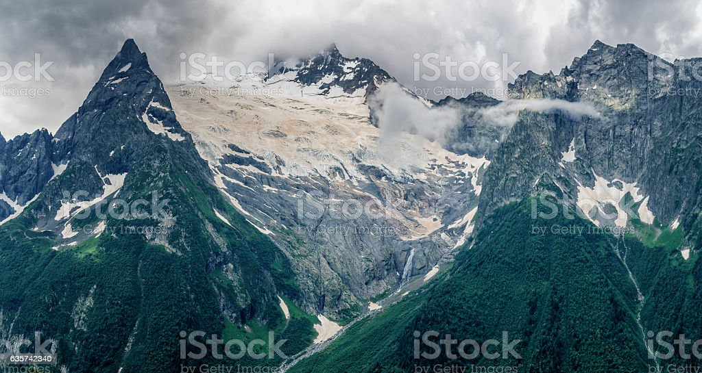 About the mountains, glaciers and waterfalls stock photo