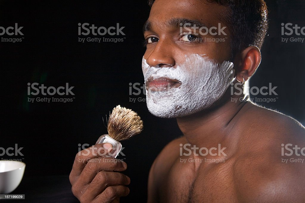 about to shave adult male hunk royalty-free stock photo