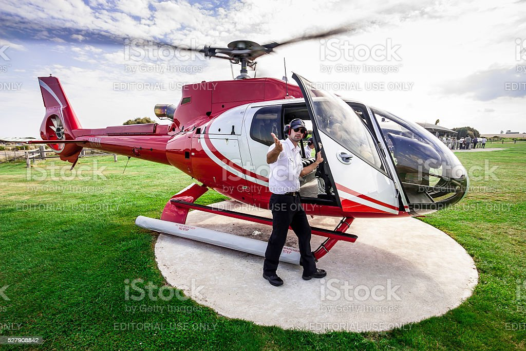 About to take a helicopter ride over Twelve Apostles stock photo