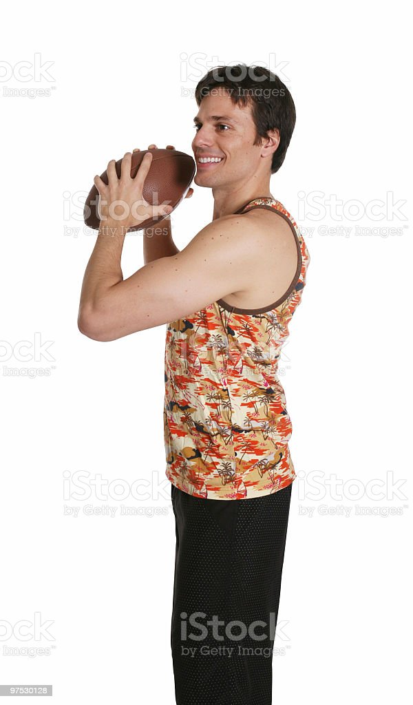 About to throw a football royalty-free stock photo