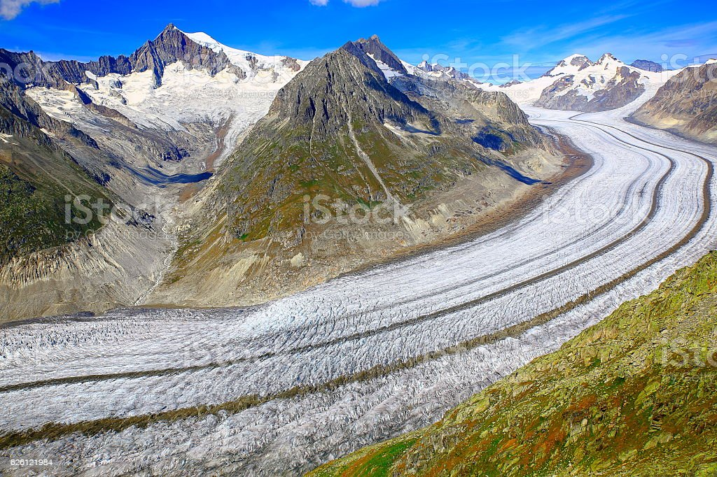 Above Aletsch Glacier tongue crevasses from above, Valais, Swiss Alps stock photo