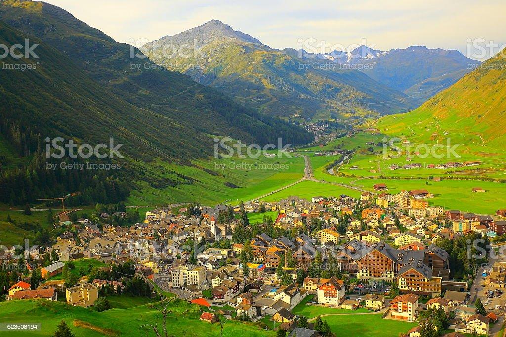 Above Andermatt alpine village panorama from Oberalp Pass, Swiss Alps stock photo