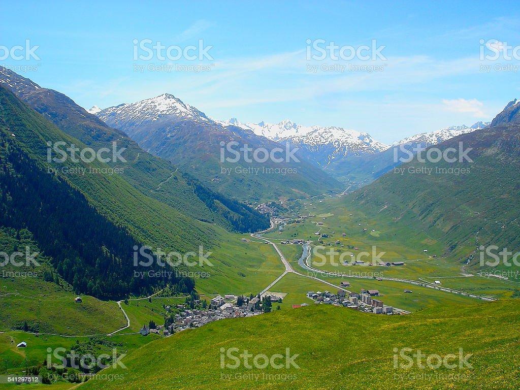 Above Andermatt panorama and Furka pass from Oberalp Pass, Swiss Alps stock photo