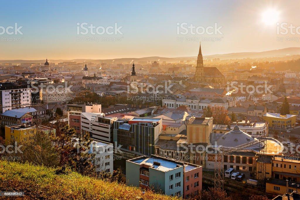 Above Cluj Napoca, Romania stock photo