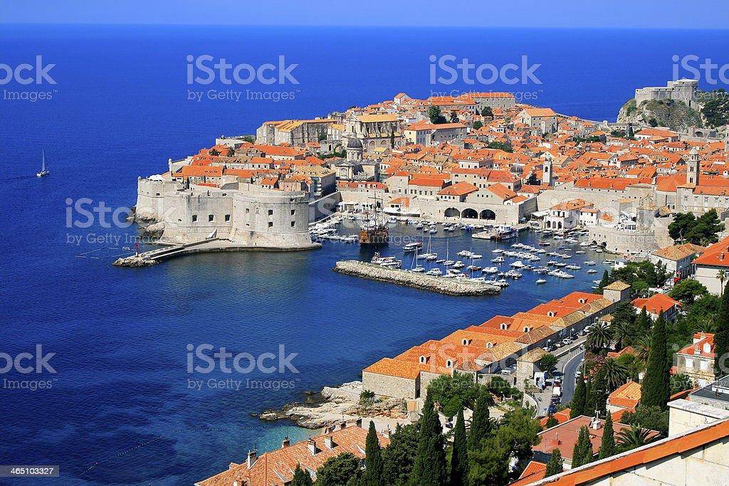 Above Dubrovnik old town with idyllic mediterranean adriatic beach, Croatia stock photo