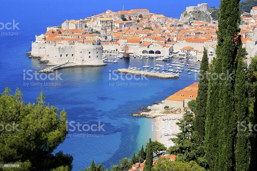 Above Dubrovnik with mediterranean adriatic beach, Croatia stock photo
