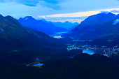 Above Engadin valley, St Moritz, Silvanaplana lakes evening, Swiss Alps