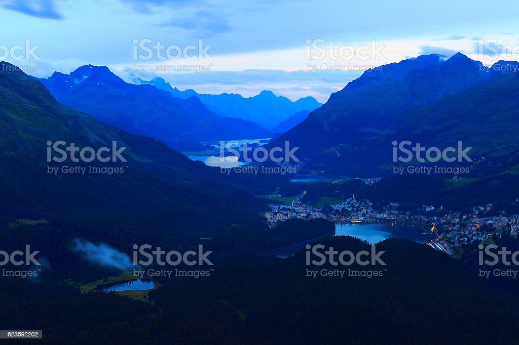 Above Engadin valley, St Moritz, Silvanaplana lakes evening, Swiss Alps stock photo