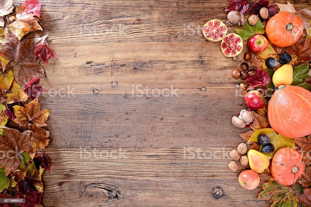 above flatlay view copyspace frame autumn theme on wood plank stock photo