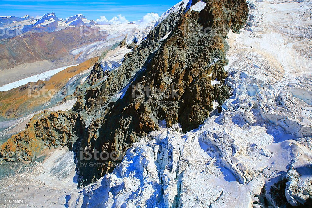 Above Gorner Glacier, Monte Rosa Massif alpine landscape, Swiss Alps stock photo