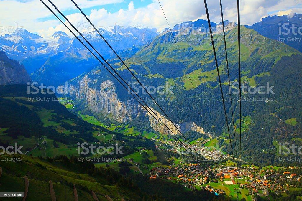 Above idyllic Wengen Village, Staubbach falls, Swiss Alps, Wengen stock photo