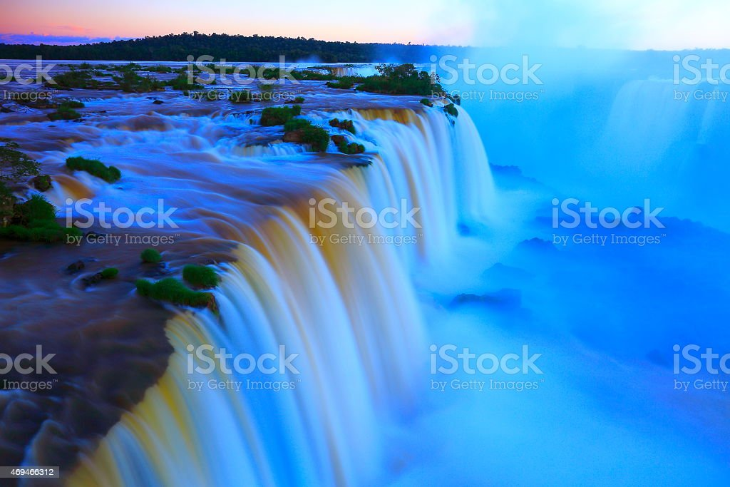 Above Iguacu falls at evening - long exposure - South America stock photo