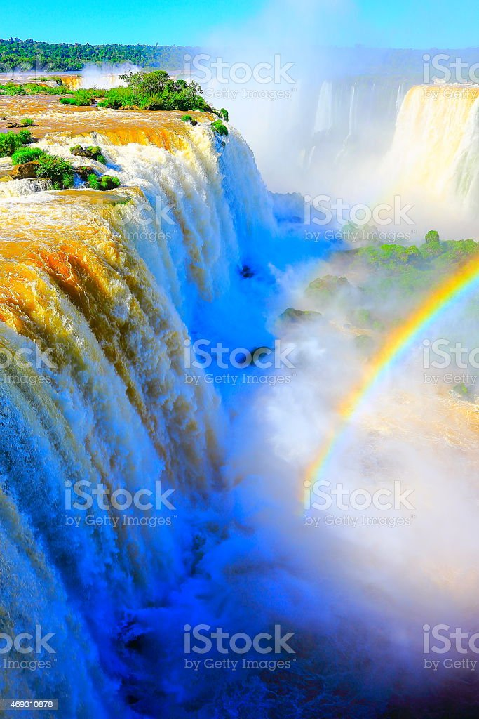 Above Iguacu falls rainbow, Brazil and Argentina rainforest border stock photo