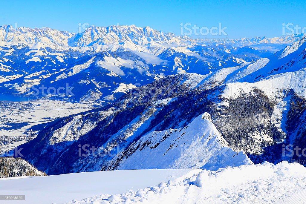 Above Kaprun, Zell Am See, Kitzbuhel Alps and Tirol, Austria stock photo