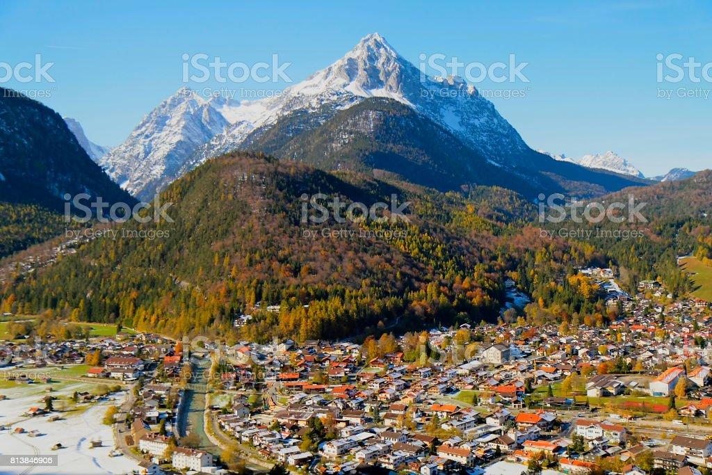 Above Mittenwald alpine village, Bavarian Alps, idyllic landscape, majestic alps valley, dramatic Bavaria german Snowcapped mountain range panorama, Berchtesgaden alps, Germany stock photo