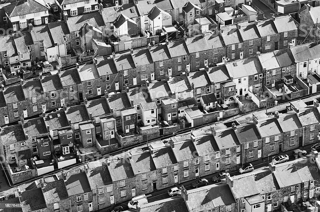 Above North East England in Black and White royalty-free stock photo