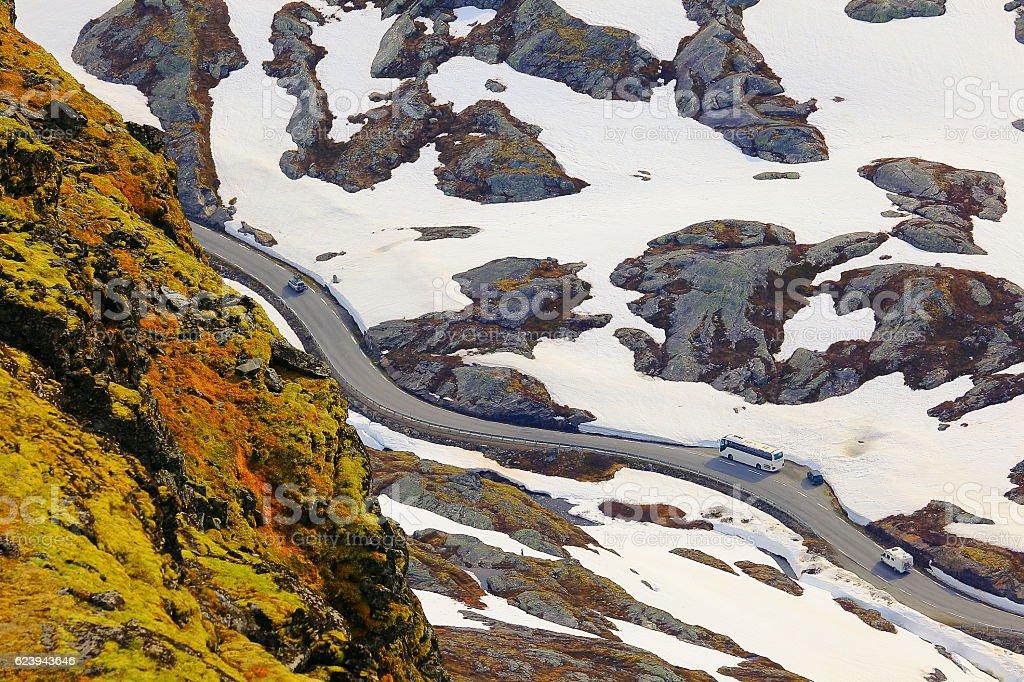 Above Norwegian Sognefjellsvegen National Tourist route, Jotunheimen, Norway, Scandinavia stock photo