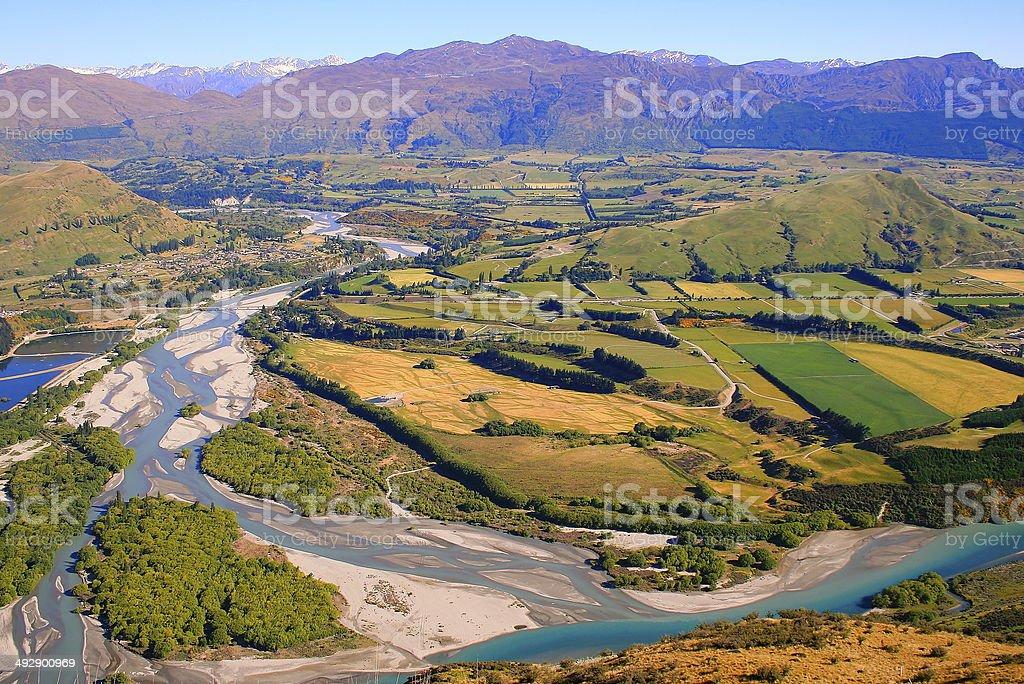 Above Otago valley landscape, near Queenstown - New Zealand stock photo