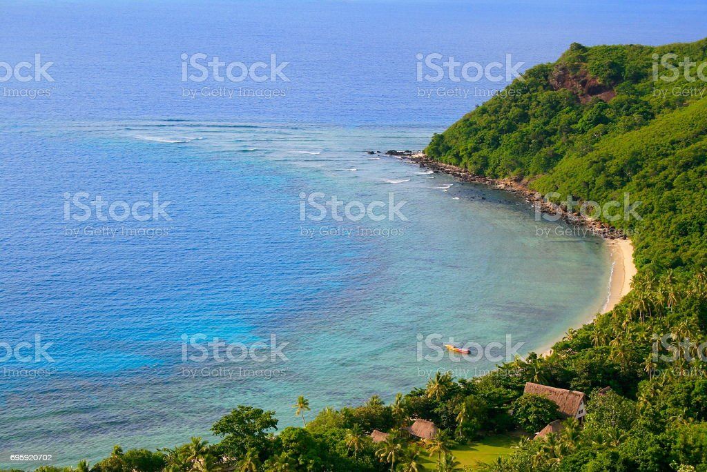 Above palapas and Tropical paradise: Dreamlike Sand deserted turquoise beach and palm trees, Idyllic Yasawas, Fiji Islands stock photo