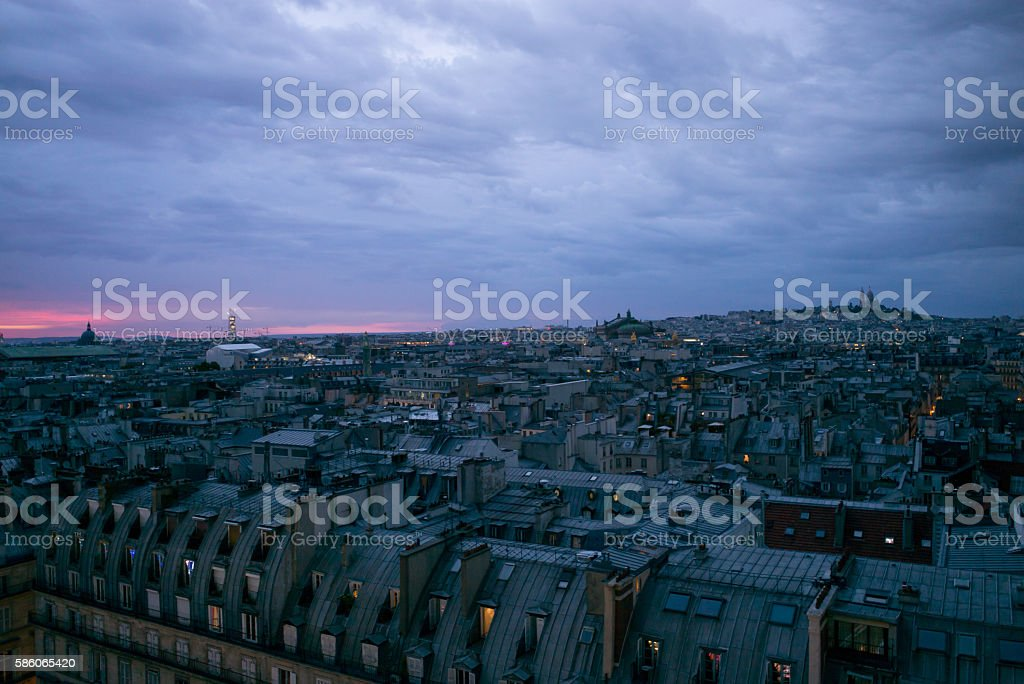 Above Paris at night stock photo