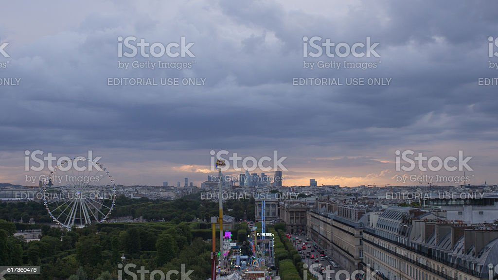 Above Paris at sunset stock photo