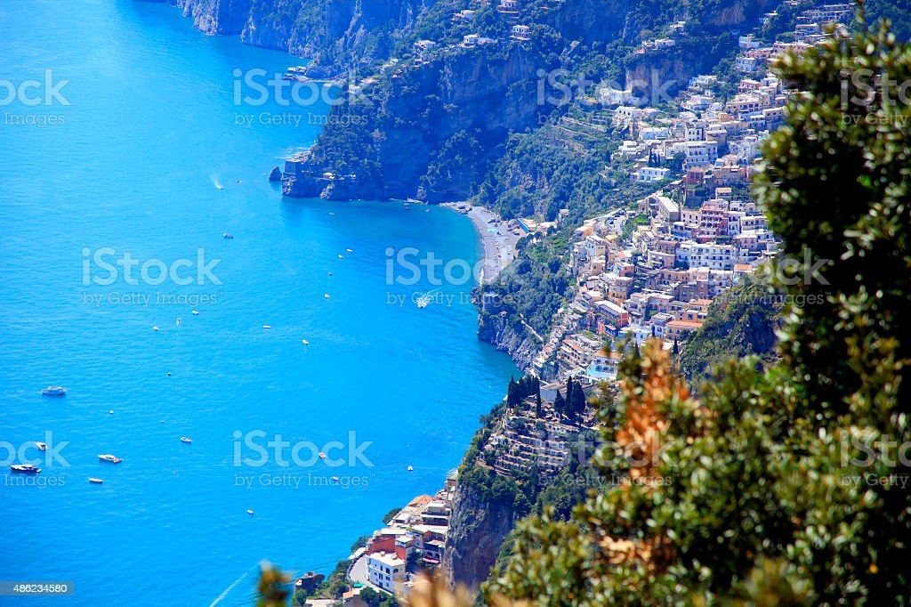 Above Positano panorama, ships and turquoise Amalfi Coast stock photo