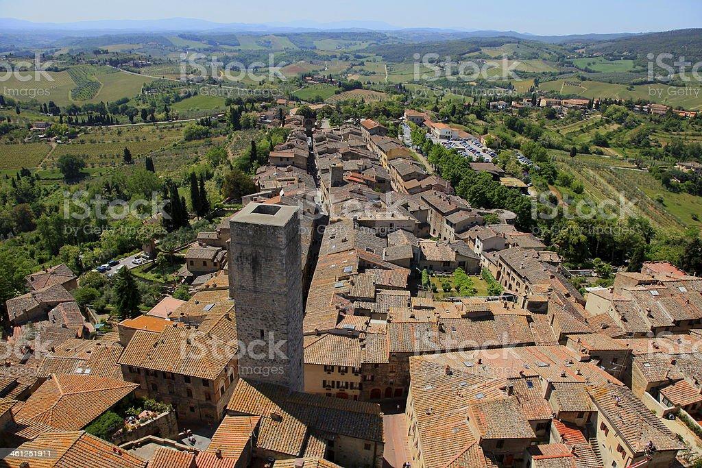 Above San Gimignano medieval roofs & towers, Tuscany, Italy stock photo